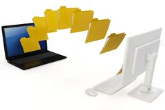 3d laptop and computer data transfer wireless vector illustration
