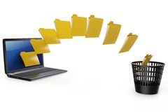 3d laptop data transfer to deleting recycle bin Stock Image