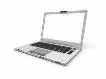 3d Laptop with Empty white screen Royalty Free Stock Photo
