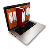 3d laptop and folders. On white background Stock Images