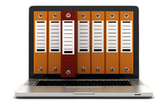 3d laptop and folders Royalty Free Stock Image
