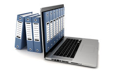 3d laptop and folders. On white background Royalty Free Stock Photos