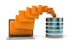 3d laptop folders and cloud server Stock Images