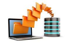 3d laptop folders and cloud server Royalty Free Stock Photos