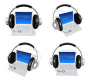 3d laptop and headphone array Stock Images
