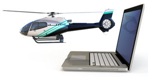 3d laptop with helicopte Royalty Free Stock Image