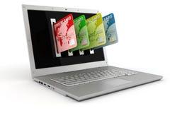 3d laptop i kredytowe karty Zdjęcia Royalty Free