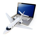 3d laptop with take off plane Stock Photography