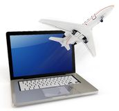 3d laptop with take off plane Royalty Free Stock Images