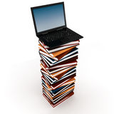 3d laptop on top of a pile of books Royalty Free Stock Photos