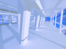 3d large blue hall. With galleries Stock Photography