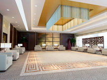 3d large reception room rendering. A large reception room.3d render Royalty Free Stock Photo