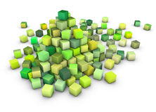 3d large stack of green cubes on white Stock Photography