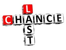 3D Last Chance Crossword. On white background stock illustration