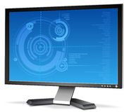 3D LCD Monitor. A 3-D LCD Monitor with a fancy display stock illustration