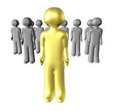 3D leader. Golden 3d guy in front of the croud Stock Image