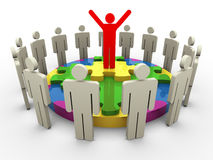 3d leader on circular shape puzzle. 3d successful team leader standing on circle puzzle with his team member Stock Image