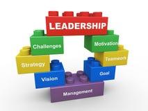 3d leadership building blocks stock illustration