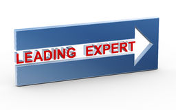 3d leading expert. 3d illustration of leading expert text in the arrow Royalty Free Stock Image