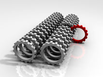 3D Leading Red Gear. 3D rendered image of a red gear leading the white gears denoting leadership Stock Image