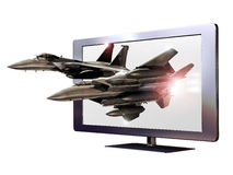 3D led television. A 3D led television from which two fighter planes seem to come out Stock Image