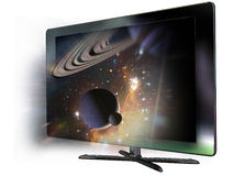3D led  television. A 3d  television, from which screen seem to come out the rings of a planet and the space arround Stock Image