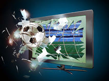 3D led television. A soccer ball seems to broke the screen of a 3D led television and come towards the spectator, retained by the net of the goal Royalty Free Stock Images