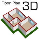 3D leeren Hausfußbodenplan Lizenzfreies Stockfoto