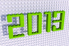 3D Lego 2013 on wall. White background Royalty Free Stock Photography