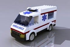 3D Lego ambulance. Vehicle on gray background Stock Images