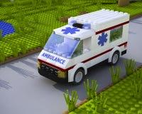 3D lego ambulance car. 3D lego white ambulance car on road Stock Image