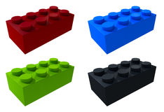 3D lego blocks isolated. 3D lego green red black blue blocks isolated Stock Photos