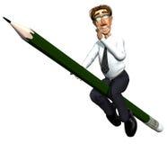 3d leraar en zijn potlood Stock Foto's