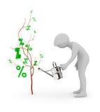 3d les gens - les eaux un arbre des pour cent Image stock