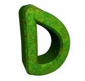 3d letter D in green grass Royalty Free Stock Photos