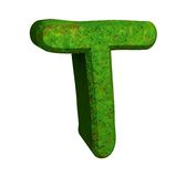 3d letter T in green grass Royalty Free Stock Images