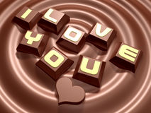 3d lettering hard mini chocolate and heart Royalty Free Stock Photography