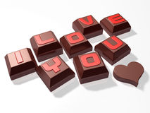 3d lettering hard mini chocolate and heart Royalty Free Stock Photos