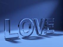 3d liefdetekst die van glas wordt gemaakt Royalty-vrije Stock Fotografie