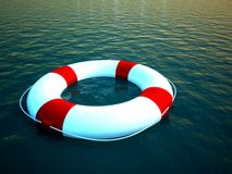 3d Life Ring Floating On Water As A Help Symbol Stock Image