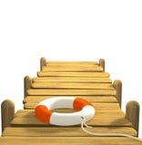 3d lifebuoy su un pilastro di legno illustrazione vettoriale