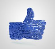 3d like. 3d tag cloud as a like on a white background Royalty Free Stock Photo