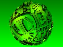 3D lime sale sphere Stock Photo