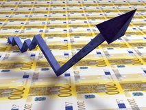 3D line graph with up arrow Royalty Free Stock Photo