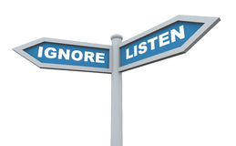 3d listen ignore signpost Royalty Free Stock Photo