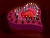 3d lit candle on red heart cake Royalty Free Stock Images