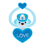 3d little blue dog and heart Royalty Free Stock Image