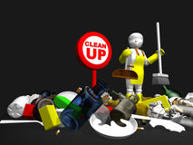3D little cleaner. Rubbish release Royalty Free Stock Photo