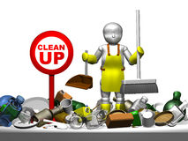 3D little cleaner and clean up Royalty Free Stock Photography