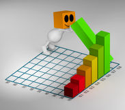 3d little cute people pushing chart element up Royalty Free Stock Image